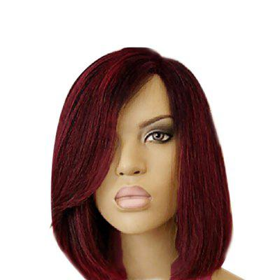 Short Side Part Colormix Dark Root Straight Bob Synthetic Wig