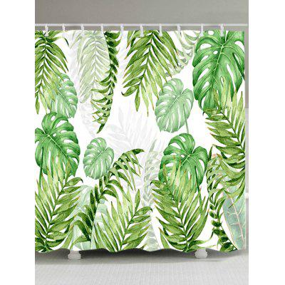 Buy GREEN Tropical Leaves Print Waterproof Shower Curtain for $17.94 in GearBest store