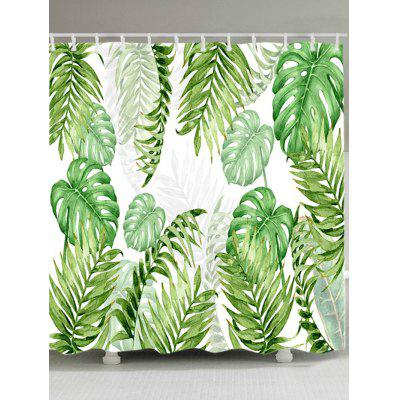 Buy GREEN Tropical Leaves Print Waterproof Shower Curtain for $19.36 in GearBest store