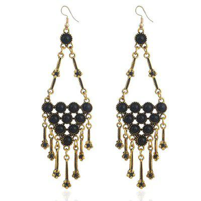 Faux Crystal Flower Tassel Geometric Alloy Drop Earrings