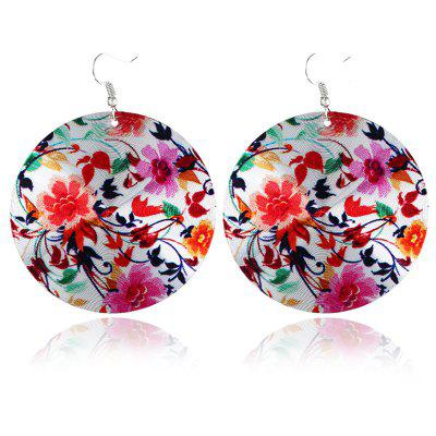 Chinese Flower Print Round Fabric Drop Earrings