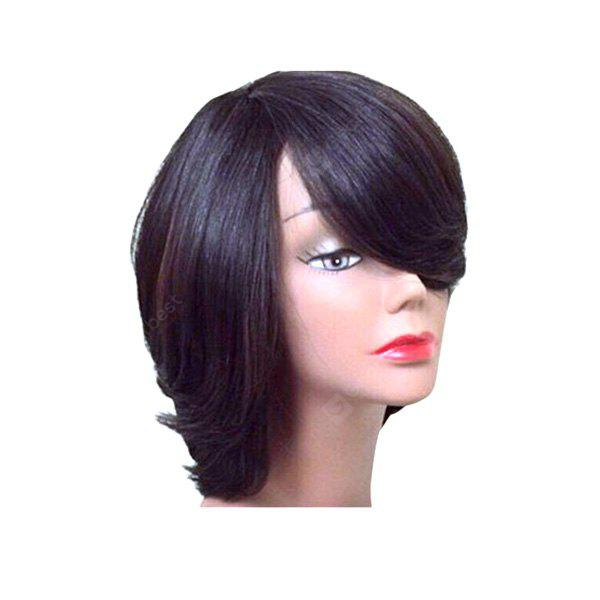 Short Side Bang Thick Straight Feathered Bob Synthetic Wig
