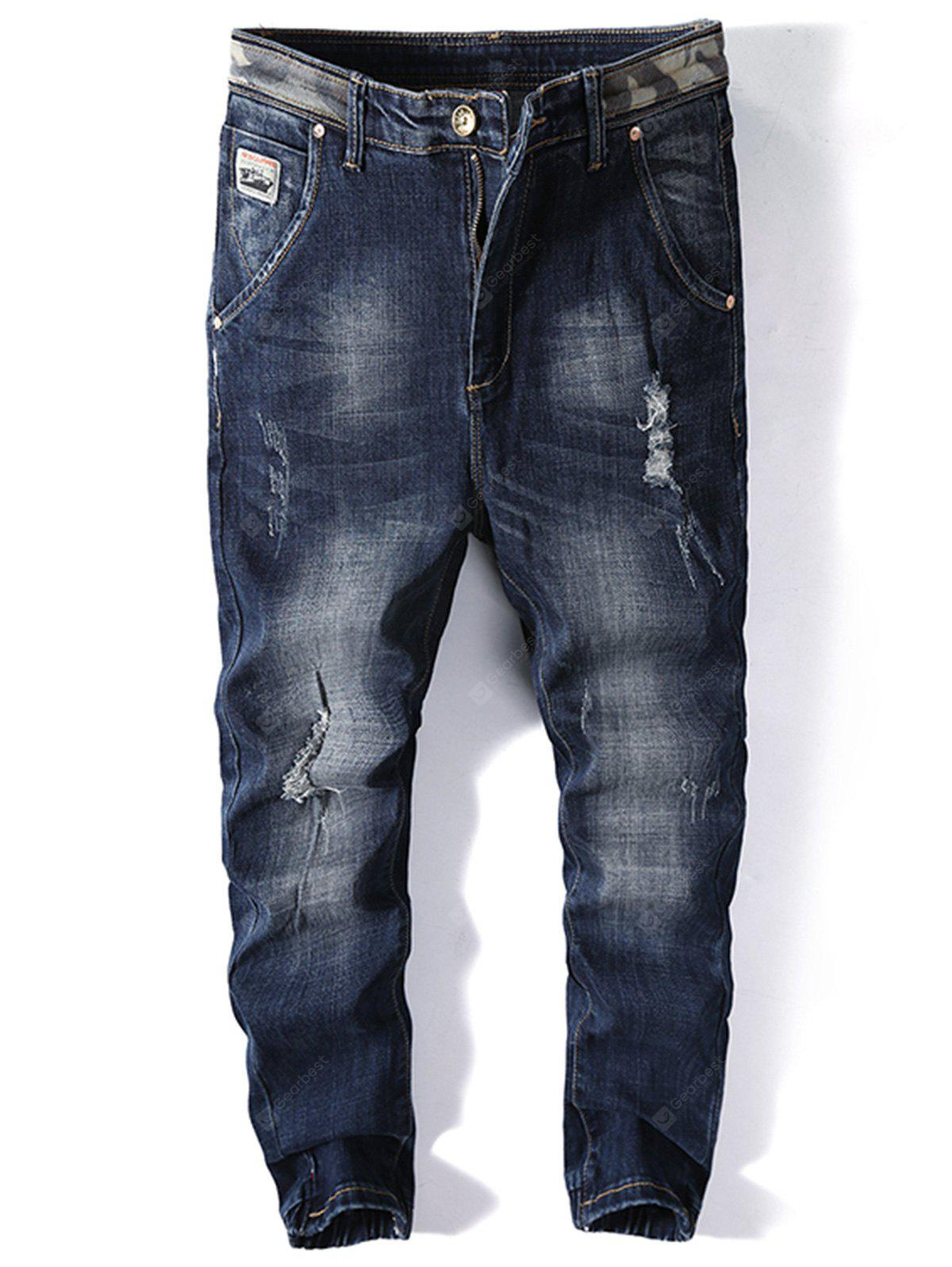 Patched Ripped Jogger Jeans 4196 Free Shipping Joger Riped