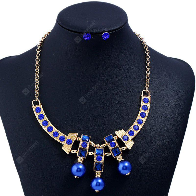 Statement Rhinestone Bead Necklace and Earrings
