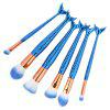 MAANGE 6Pcs Plated Mermaid Handle Makeup Brushes Kit - BLUE