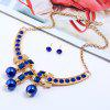 Statement Rhinestone Bead Necklace and Earrings - BLUE