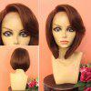 Short Deep Side Part Straight Stacked Bob Synthetic Wig - BROWN