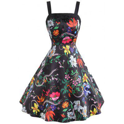 Flower Snake Print Bowknot Embellished Vintage Dress