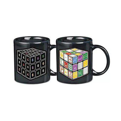 Novelty Office Tea Coffee Cup  Cube Pattern Color Changing Ceramic Mug