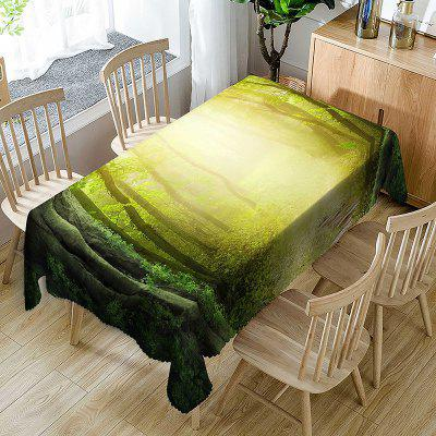 Sun Rays into Forest Print Waterproof Table Cloth