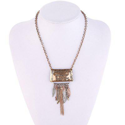 Metal Label Pattern Embellished Fringed Sweater ChainNecklaces &amp; Pendants<br>Metal Label Pattern Embellished Fringed Sweater Chain<br><br>Gender: For Women<br>Item Type: Pendant Necklace<br>Package Contents: 1 x Sweater Chain<br>Shape/Pattern: Feather<br>Style: Trendy<br>Weight: 0.1390kg