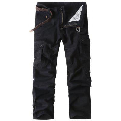 Straight Leg Button Pockets Cargo Pants