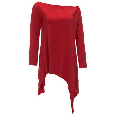 Long Sleeve Skew Neck Asymmetric TopBlouses<br>Long Sleeve Skew Neck Asymmetric Top<br><br>Collar: Skew Collar<br>Material: Polyester, Spandex<br>Package Contents: 1 x Top<br>Pattern Type: Solid Color<br>Season: Fall, Spring<br>Shirt Length: Regular<br>Sleeve Length: Full<br>Style: Casual<br>Weight: 0.3200kg