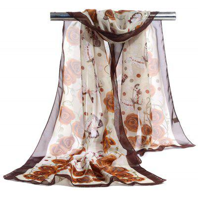 Vintage Flying Butterfly Pattern Chiffon Scarf