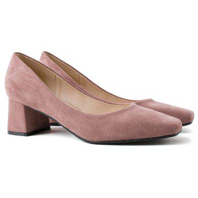 Square Toe Block Heeled Pumps