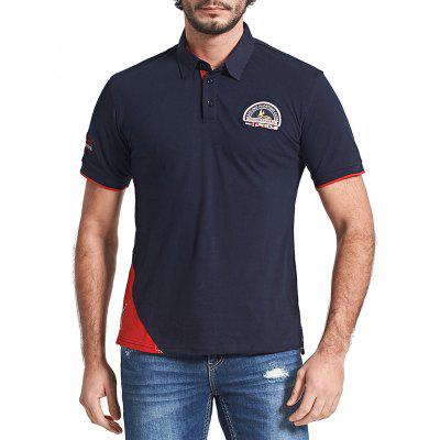 Contrast Trim Chest Patched Polo Shirt