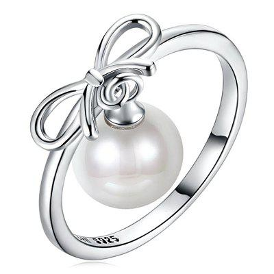 Faux Pearl Sterling Silver Bows Charm Ring