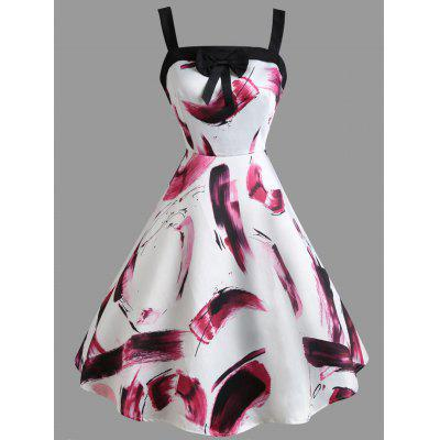 Scrawl Feather Bowknot Vintage Dress