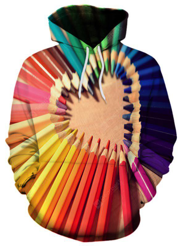 3D Colored Pencils Heart Valentine's Day Hoodie