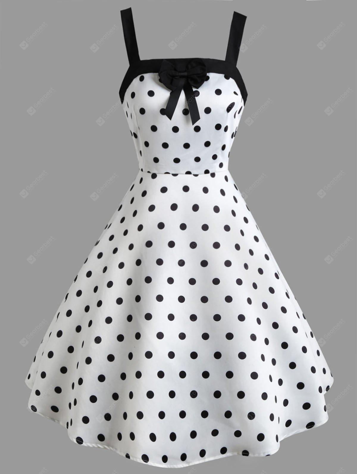 Polka Dot Print Bowknot Embellished Vintage Dress