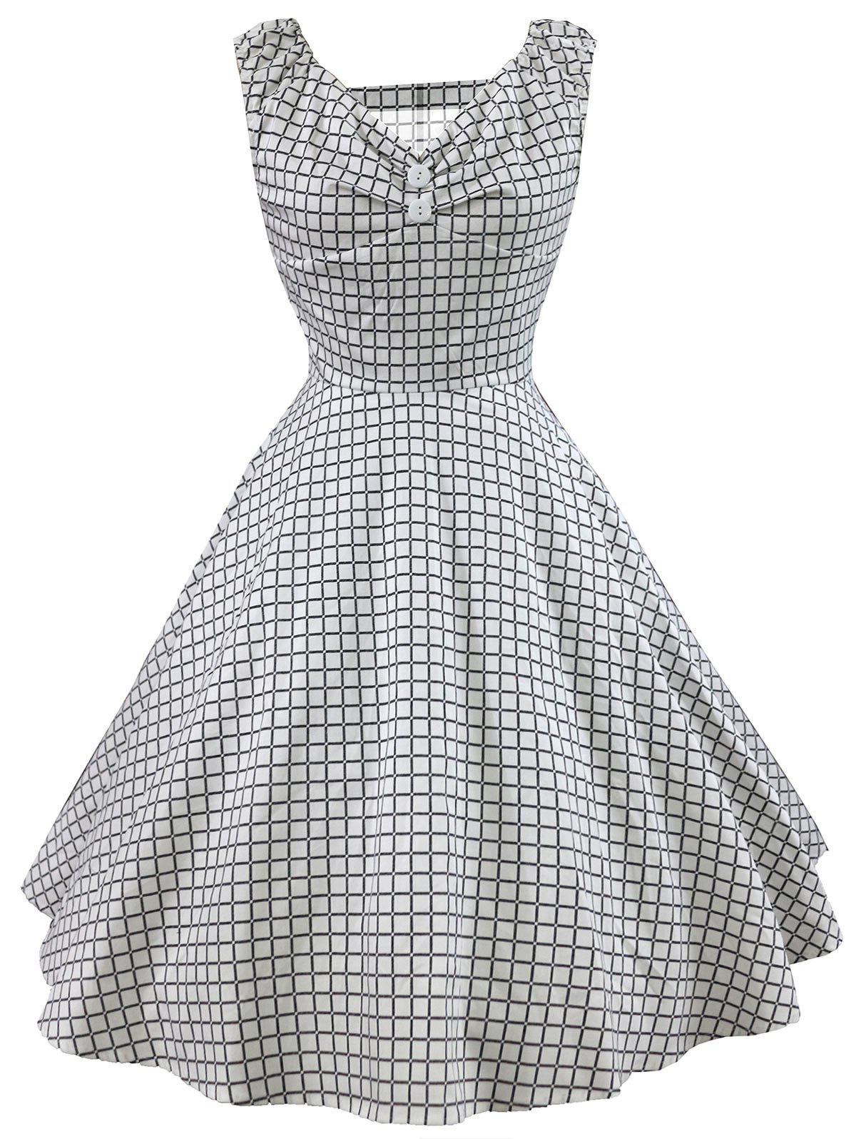Retro Grid Sleeveless Dress
