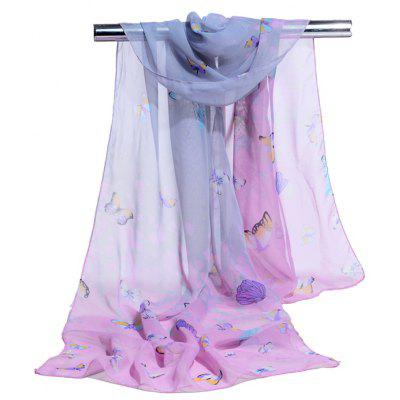 Vintage Flying Butterfly Pattern Silky Scarf