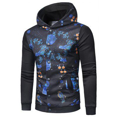 Button Up Outer Space Print Hooded Jacket
