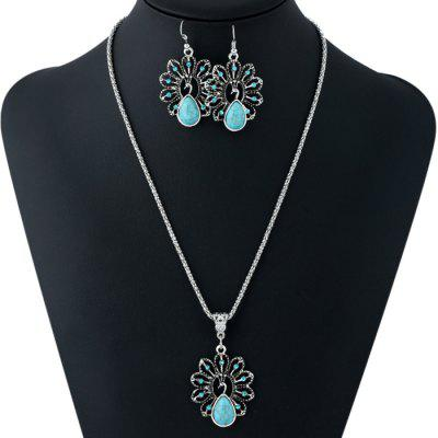 Hollow Out Turquoise Pendant Necklace and Drop Earrings