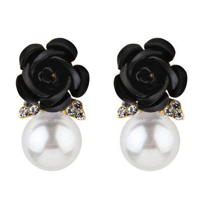 Faux Pearl Rhinestone Rose Flower Earrings