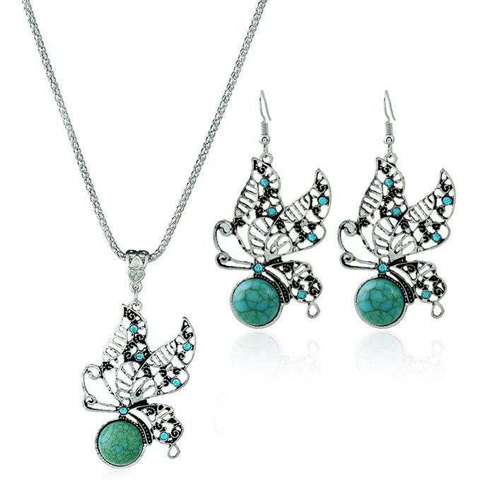 Faux Turquoise Butterfly Shape Jewelry Set
