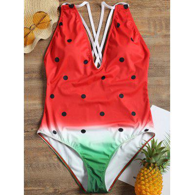 Cross Back One Piece Watermelon Swimsuit