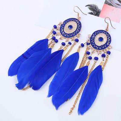 Ethnic Style Feather Tassel Drop Earrings