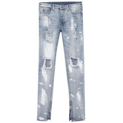 Bleached Effect Splatter Paint Ripped Jeans