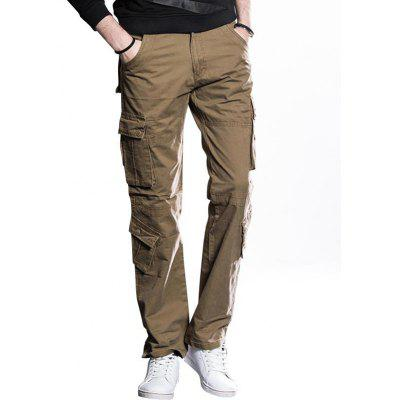 Button Flap Pockets Straight Cut Cargo Pants