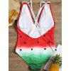 Cross Back One Piece Watermelon Swimsuit - RED