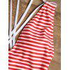 Cross Back Striped One Piece Swimsuit - RED STRIPES