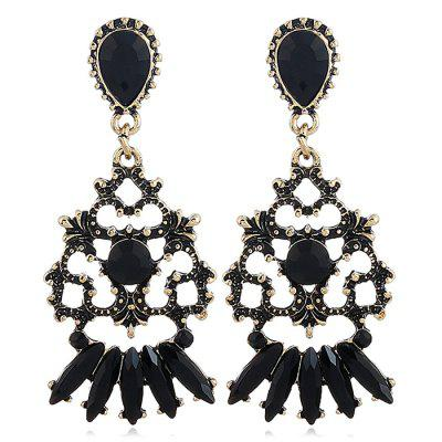 Fanshaped Hollow Out Carving Floral Drop Earrings