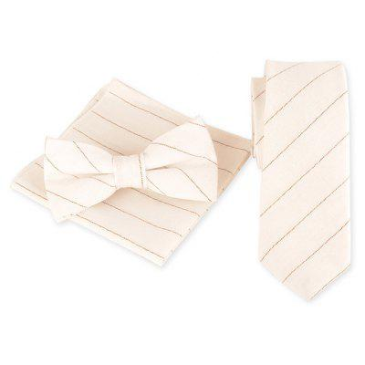 Striped Pattern Decorated Necktie Handkerchief Bowtie Set