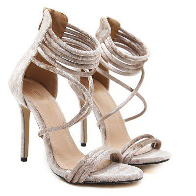 Stiletto High Heel Velvet Sandals -  36  APRICOT