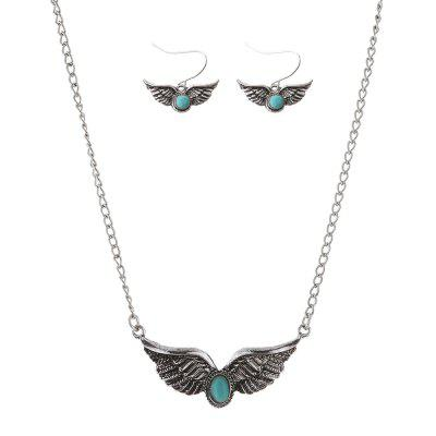 Faux Turquoise Angel Wings Necklace and Earrings