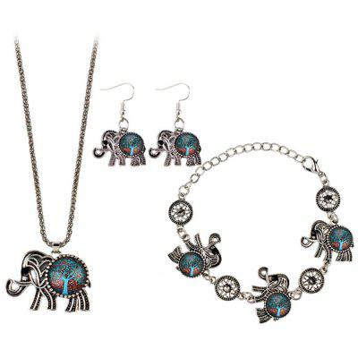 Tree of Life Elephant Necklace Bracelet and Earrings