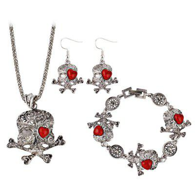 Heart Skull Crossbones Necklace Bracelet and Earrings