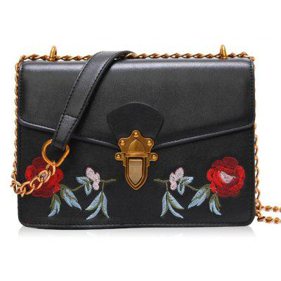 Buy BLACK Floral Embroidery Flap Chain Crossbody Bag for $31.20 in GearBest store
