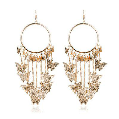 Hollow Out Butterfly Circle Decorated Drop EarringsEarrings<br>Hollow Out Butterfly Circle Decorated Drop Earrings<br><br>Earring Type: Drop Earrings<br>Gender: For Women<br>Package Contents: 1 x Drop Earrings (Pair)<br>Shape/Pattern: Geometric,Insect,Round<br>Style: Trendy<br>Weight: 0.0380kg