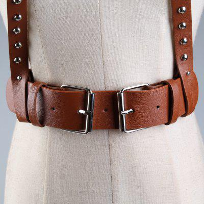 Vintage Rivet Embellished Punk Harness Faux Leather BeltBelts<br>Vintage Rivet Embellished Punk Harness Faux Leather Belt<br><br>Belt Material: Faux Leather<br>Belt Silhouette: Waist Belt<br>Gender: For Women<br>Group: Adult<br>Package Contents: 1 x Belt<br>Pattern Type: Others<br>Style: Fashion<br>Weight: 0.1730kg
