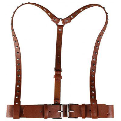 Vintage Rivet Embellished Punk Harness Faux Leather Belt