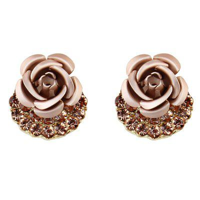 Artificial Crystal Inlay Rose Pattern Stud Earrings