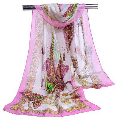 Lightsome Floral Pattern Silky Scarf