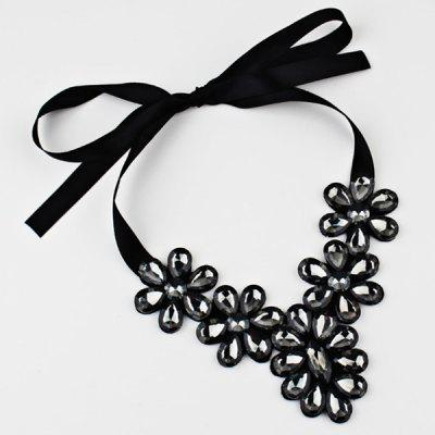 Exaggerated Flower Faux Crystal Ribbon Necklace