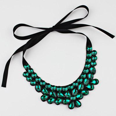 Faux Crystal Floral Detachable Collar Necklace